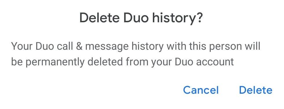 Delete Google Duo Call History